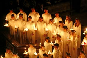 Sankta Lucia candlelight service by the Swedish church in Westminster Cathedral