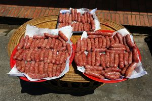 Sausages for sale in the street in Luang Prabang, Laos