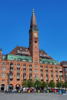 Scandic Hotel building and clock tower in Radhuspadsen the Town Hall Square in Copenhagen