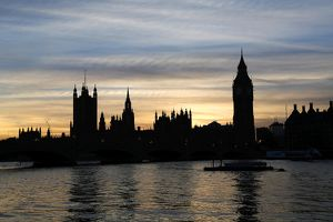 Silhouette of Houses of Parliament at Sunset in London