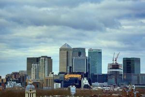 Skyscrapers of Canary Wharf Skyline, City of London, England