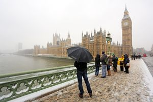 Snow on Westminster Bridge, the Houses of Parliament and Big Ben, London
