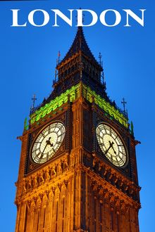 Souvenir of Big Ben, Houses of Parliament, at dusk in London, England