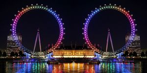 Millennium Wheel / London Eye, England, illuminated in rainbow lights to celebrate