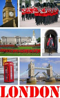 Souvenir photos of Big Ben, Buckingham Palace, Guards, Tower Bridge and a Telephone Box in London, England