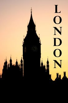 Souvenir silhouette of Big Ben and the Houses of Parliament at sunset, London, England