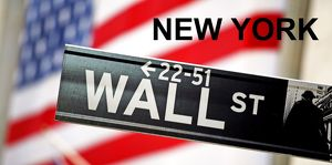 Souvenir of Wall Street sign and Stars and Stripes American Flag, New York