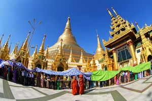 Spires and the golden stupa of Shwedagon Pagoda, Yangon, Myanmar