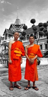 Spot colour Buddhist Monks at the Grand Palace, Wat Phra Kaew, Bangkok, Thailand