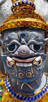 Spot colour Yaksha Demon Statue at Wat Phra Kaew temple, Bangkok, Thailand