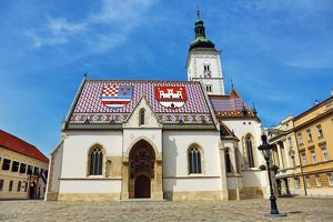 St. Mark's Church with city arms on roof, Zagreb, Croatia
