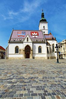 St. Mark's Church and cobbles of the Square in Zagreb, Croatia