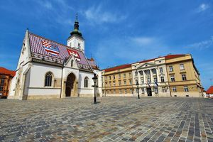 St. Mark's Church and Croatian Parliament in Zagreb, Croatia