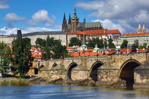 St. Vitus Cathedral and Prague Castle with the Charles Bridge over the Vltava River