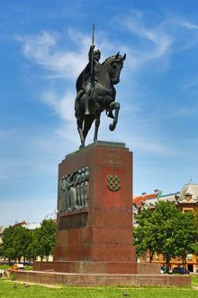 Statue of King (Kralj) Tomislav riding a horse in King Tomislav Square in Zagreb, Croatia