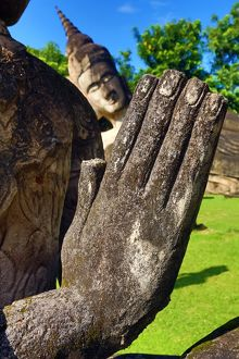 Statue of praying hands, Buddhas, Buddha Park, Vientiane, Laos