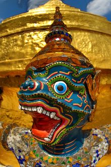 Statue of a Yaksha Demon at Wat Phra Kaew, Bangkok, Thailand