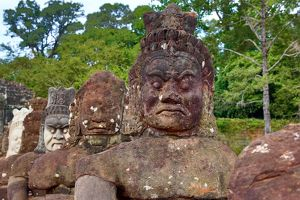 Statues at the Victory Gate in Angkor Thom, Siem Reap, Cambodia