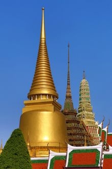 Stupas and chedis at Wat Phra Kaew Temple, Bangkok, Thailand