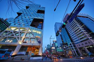 Tall modern buildings and office blocks at dusk in the Gangnam district, Seoul, Korea