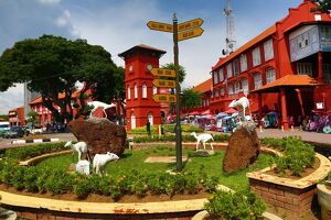 Tang Beng Swee Clock Tower in Dutch Square, known as Red Square, in Malacca, Malaysia