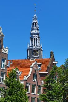 Tower of the Oude Kerk, old church, in Amsterdam, Holland