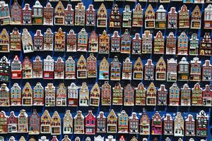 Traditional Dutch houses fridge magnets on sale in the flower market in Amsterdam