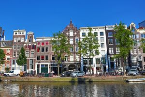 Traditional Dutch houses on the Singel Canal in Amsterdam, Holland