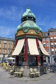 Traditional roof on cafe kiosk in Kongens Nytorv in Copenhagen, Denmark
