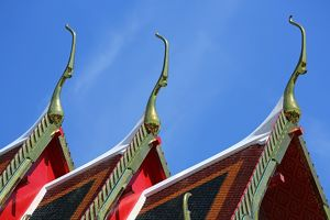 Traditional Thai architecture roof decorations at Wat Pho temple, Bangkok, Thailand