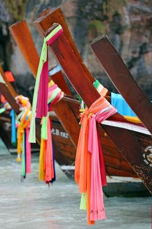 Traditional Thai long tailed boats in Maya Bay on Ko Phi Phi Le island, Thailand