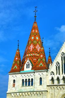 Traditional tiled roof of the Matthias Church in Budapest, Hungary