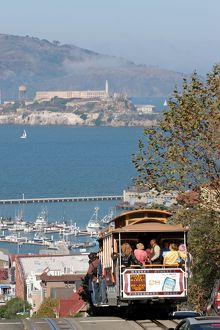 Tram and Alcatraz Island in San Francisco, California, America