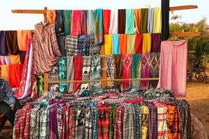 Trouser and clothing stall at Pyathadar Hpaya Temple Pagoda on the Plain of Bagan