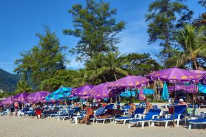 Umbrellas and Sunloungers on Patong Beach, Phuket, Thailand