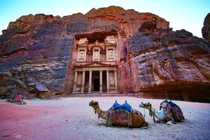 View of the Treasury, Al-Khazneh, with camels, Petra, Jordan
