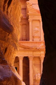 View of the Treasury, Al-Khazneh, from the Siq, Petra, Jordan