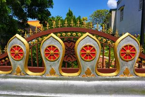Wall decoration on Wat Nong Sikhounmuang Temple, Luang Prabang, Laos