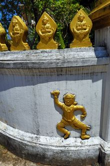 Wall decoration at Wat Xieng Mouane Temple, Luang Prabang, Laos