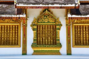 Window decorations at Wat Ho Prabang Temple, Luang Prabang, Laos