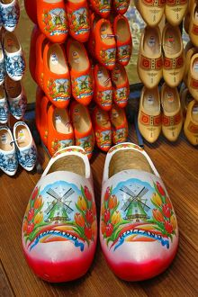 Wooden clogs on sale in the flower market in Amsterdam, Holland