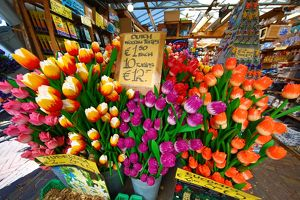 Wooden Tulip flowers on sale in the flower market in Amsterdam, Holland