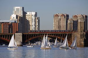 Yachts sailing on the Charles River, Boston, Massachusetts
