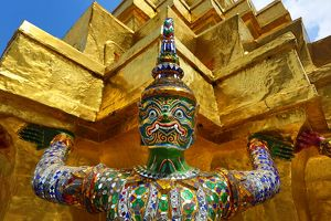 Yaksha Demon Statue at Wat Phra Kaew Temple complex of the Temple of the Emerald Buddha in Bangkok