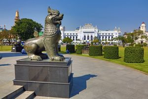Yangon City Hall and lion statue in Maha Bandola Garden park, Yangon, Myanmar