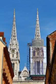 Zagreb Cathedral with tower renovation in Zagreb, Croatia