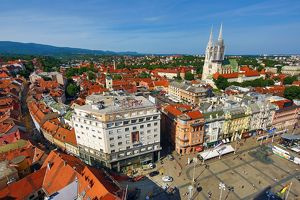 Zagreb skyline and the Cathedral and Ban Jelacic Square, Croatia
