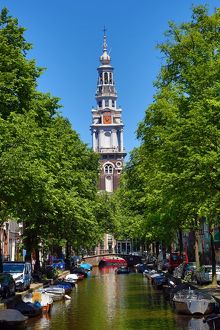 Zuiderkerk Tower and the Groenburgwal canal in Amsterdam