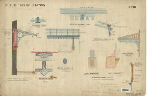 N.E.R. Selby Station - Elavations and Sections of the Verandah, Eaves and Corbel [1889]