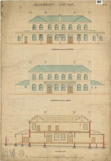 Aldershot Station No. 11 - Station Building Elevations and section [N.D]